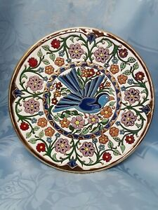 Floral-24-K-Gold-Hand-Painting-Plate-Which-Blue-Bird-Manousakis-Keramik