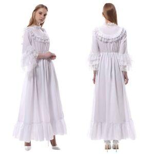 31c617488 Image is loading Women-Medieval-Renaissance-Chemise -White-Long-Chiffon-Dress-