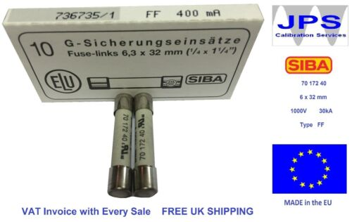 SIBA 70 172 40 ff400ma fuse ultra rapide FF 400ma 1000V DMM DMI fuse jpsf083