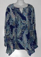 Simply Emma Woman's Plus Size Dressy Paisley Asymmetrical Hemline Top Blue 2X