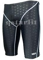 Men Male Racing Competition Fast Skin Swimwear Trunk Jammer Size 36 / 3XL Black