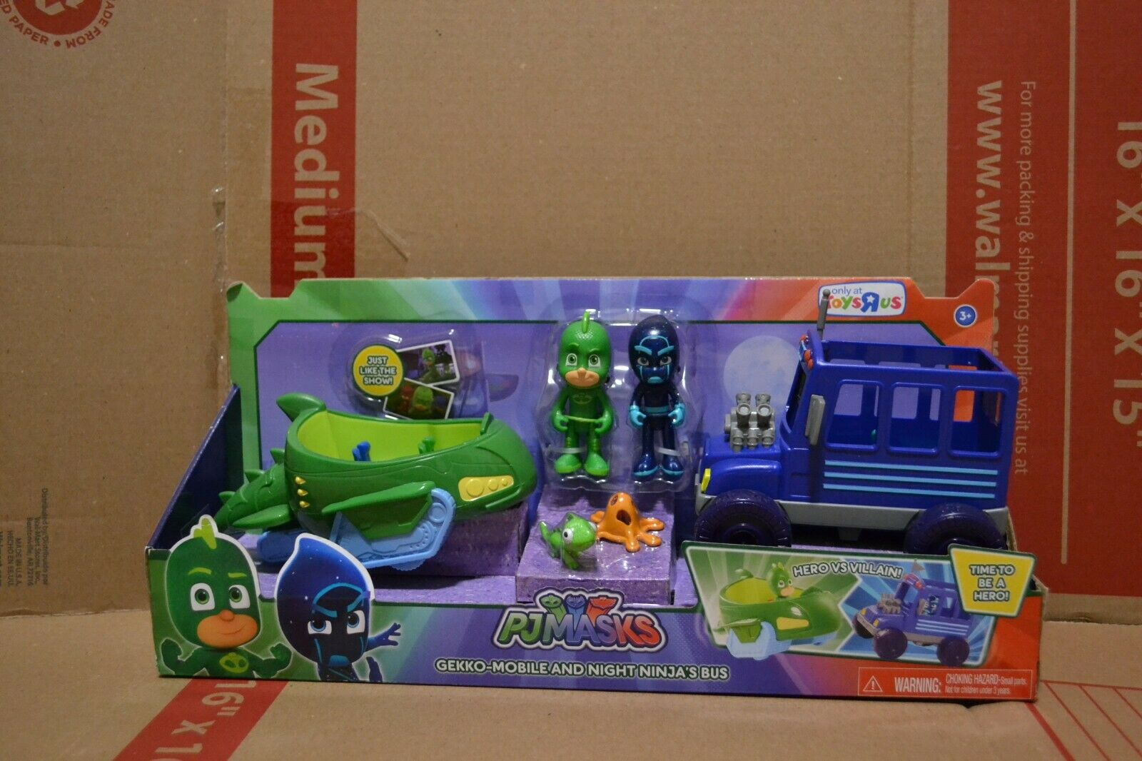 PJ Masks Gekko and Night Ninja with Car Bus NEW Toys R Us Exclusive RARE