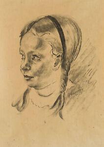 Rudolf-SCHMID-1896-1971-Junges-Maedchen-mit-Zoepfen-Original-Portraet-1953