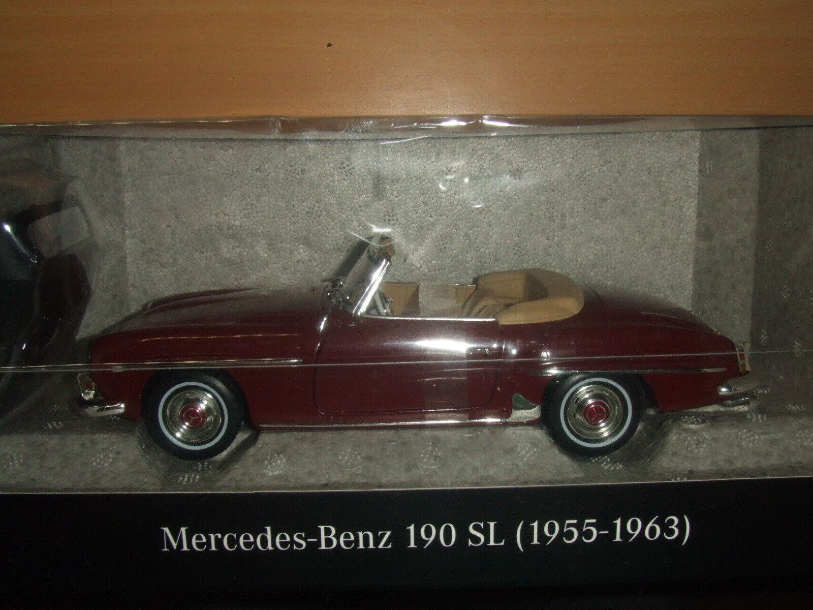 Mercedes Benz W 121 - 190 SL bordeaux avec capote 1 18 Nouveau neuf dans sa Boîte NOREV