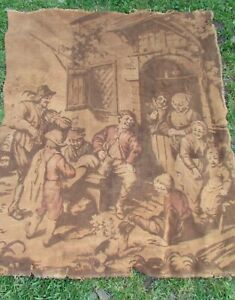 Gorgeous-Large-Antique-French-Tavern-Scene-Tapestry-4ft-3-034-x-4ft-11-034-c1920s