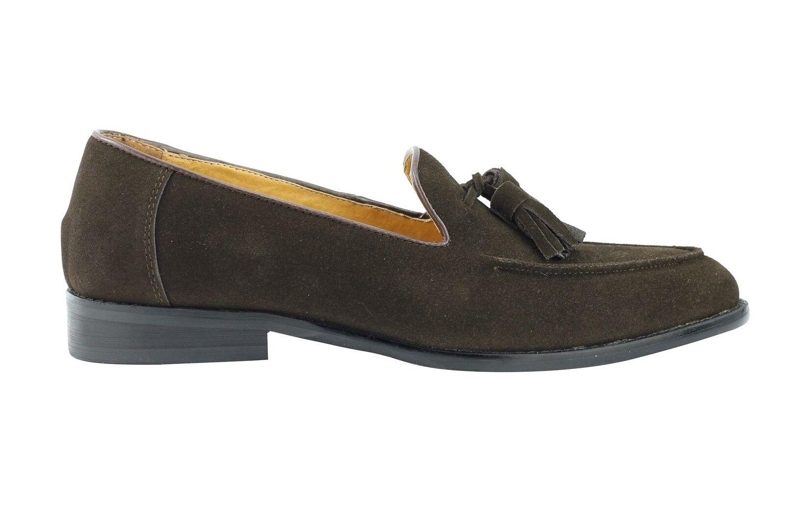 Herren Braun Real Suede Leder Tassel Slip Loafers On Classic Vintage Smart Schuhes
