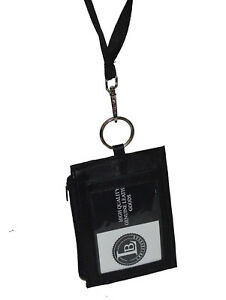 Leather-ID-Card-Badge-Holder-Neck-Pouch-Ring-Wallet-With-Strap-New-Black