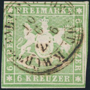 WURTTEMBERG-MiNr-8-a-gestempelt-gepr-Heinrich-Mi-75-2