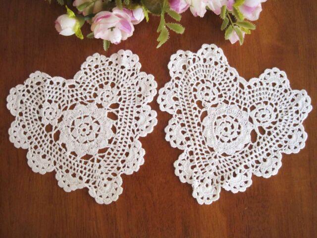 "TWO Chic Hand Crochet Heart Shape Cotton Doily White 6"""