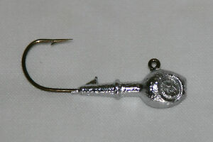 9-pk-5-8-oz-Walleye-Fishing-Jigs-w-Eye-Sockets-Bronze-Aberdeen-Hooks