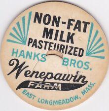 MILK BOTTLE CAP. WENEPAWIN FARM. EAST LONGMEADOW, MA. DAIRY