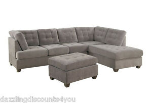 Contemporary 3pc grey sectional sofa microsuede reversible for 3pc sectional with chaise