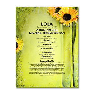 Details about NAME MEANING PRINT Personalised Birthday Mothers Day Gift Mum  Sister Sunflowers