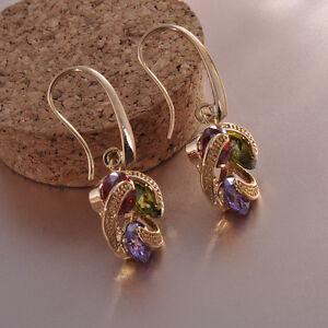 Women-039-s-Ruby-Peridot-Amethyst-Drop-Dangle-Hook-Earrings-10KT-Yellow-Gold-Filled