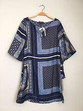 HALE BOB 3/4 Sleeve Tie Front Printed Silk Shift Tunic Dress Blue Multi XS $218