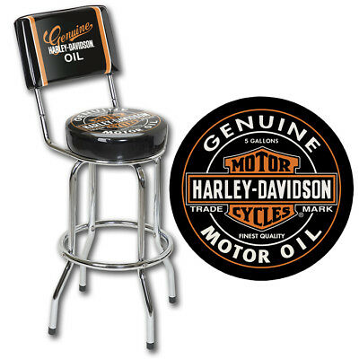 Harley Davidson Genuine Oil Can Bar Pub Stool with Back rest Man Cave