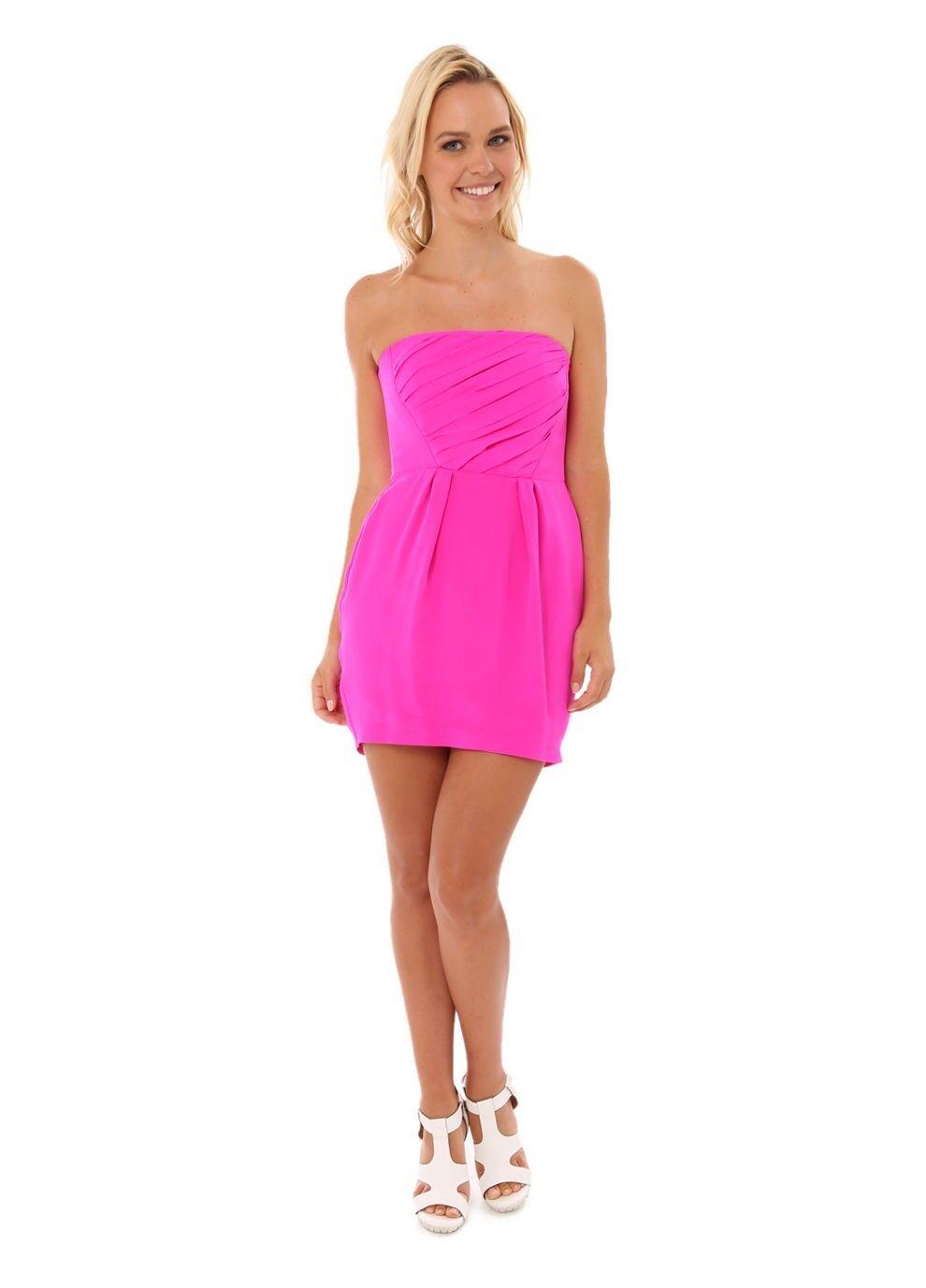 NAVEN Pink Foxy Shirred Silk Mini Strapless Dress Size S NEW