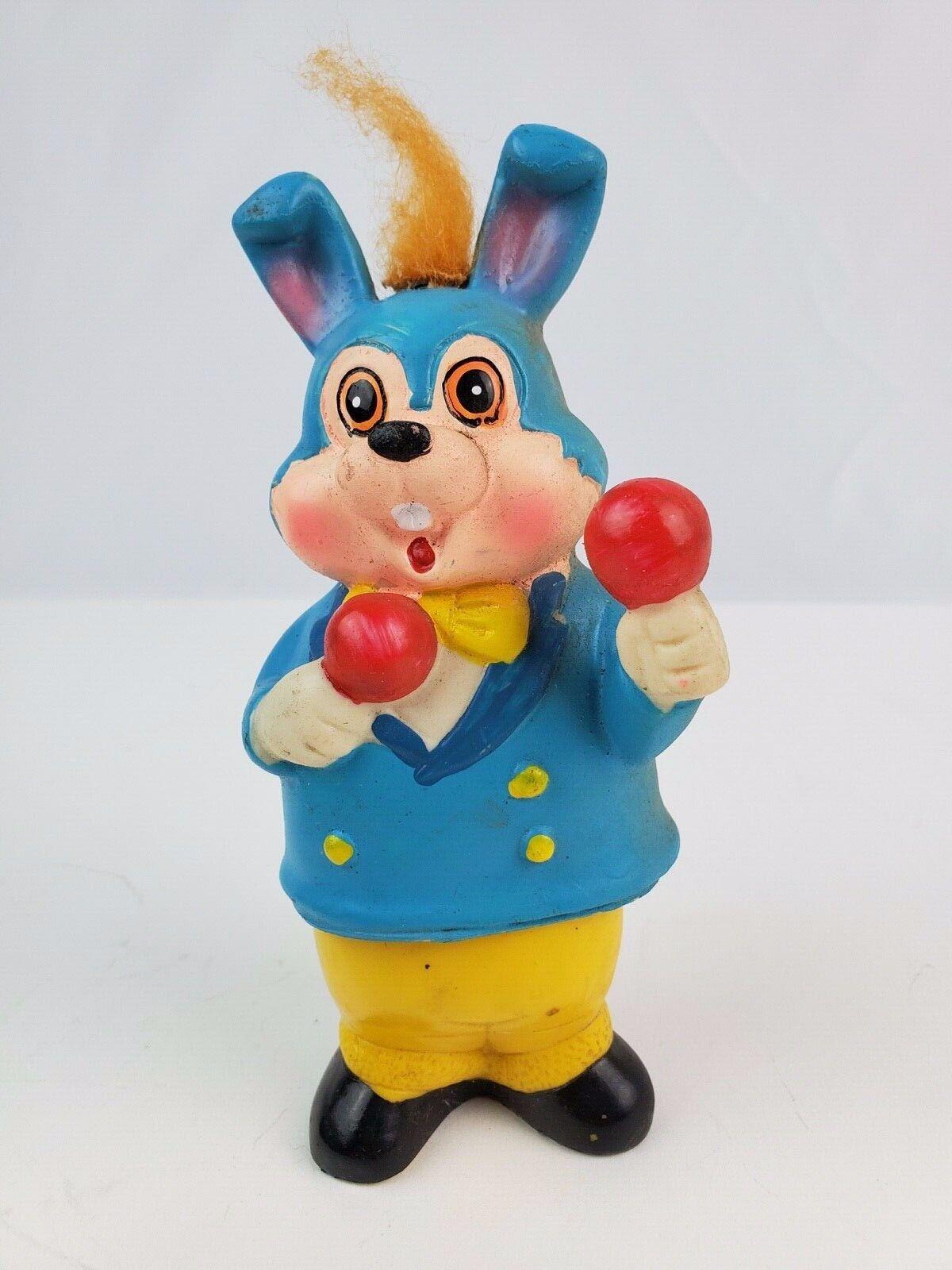 Vintage Cuerda plástico azul y amarillo bailando Conejo de Japón de trabajo