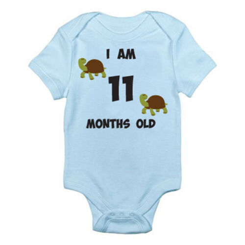 Suit Eleven Birth I AM 11 MONTHS OLD Tortoise Themed Baby Grow Age