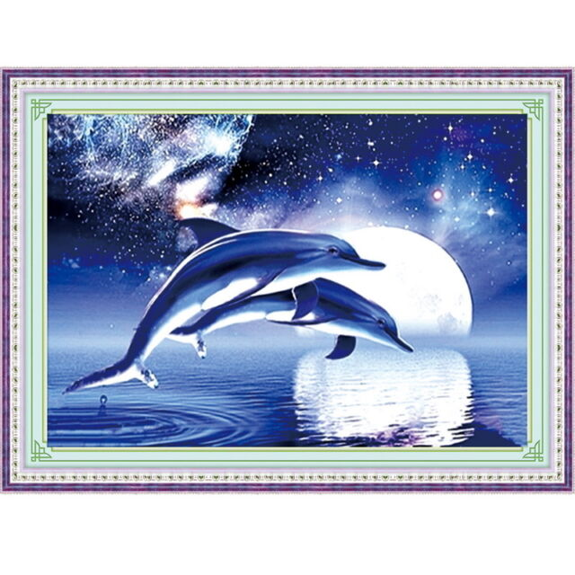 DIY Crystal Diamond Painting Cross Stitch Kits Cute Dolphin Arts Home Decor