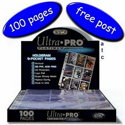 Box Of 100 Ultra-Pro 9 Pocket Pages Platinum Series Multi-Hole