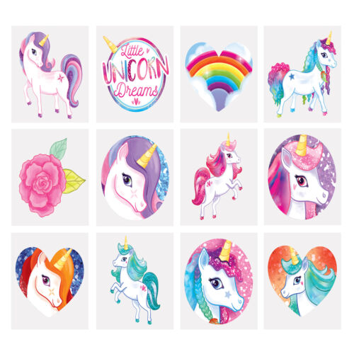 12 In A Pack Unicorn Temporary Tattoos Girls Kids Childrens Party Bag Fillers