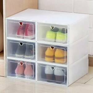 6 x Clear Plastic Shoe Storage Boxes Drawer Stackable Foldable Durable Organiser