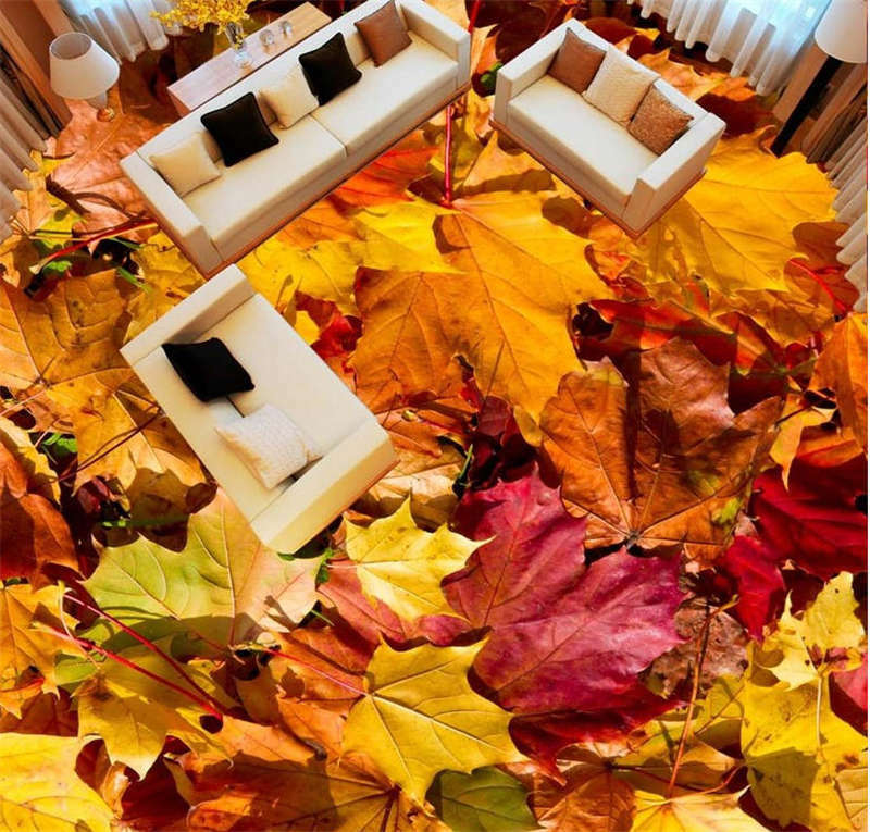 Depressed Autumn 3D Floor Mural Photo Flooring Wallpaper Home Print Decoration