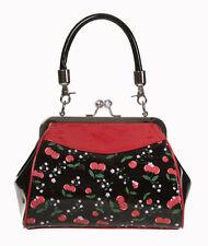 Banned Cherry 50s Rockabilly Shiny Clutch Shoulder Bag Handbag Purse Black Red