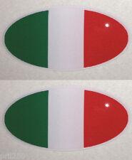 Ducati Bimota MV Agusta Pair Gel Domed Oval Italian Flag Decal (3cm x 1.5cm)