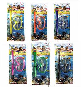 Kinder Schwimmen Gerätetauchen Schnorchel Gesichtsmaske Ohrstecker Set 6 Farben Kinderbadespaß