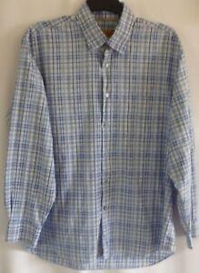 Robert-Talbott-Carmel-Mens-Shirt-XL-Blue-Plaid-Button-Down-Long-Sleeve