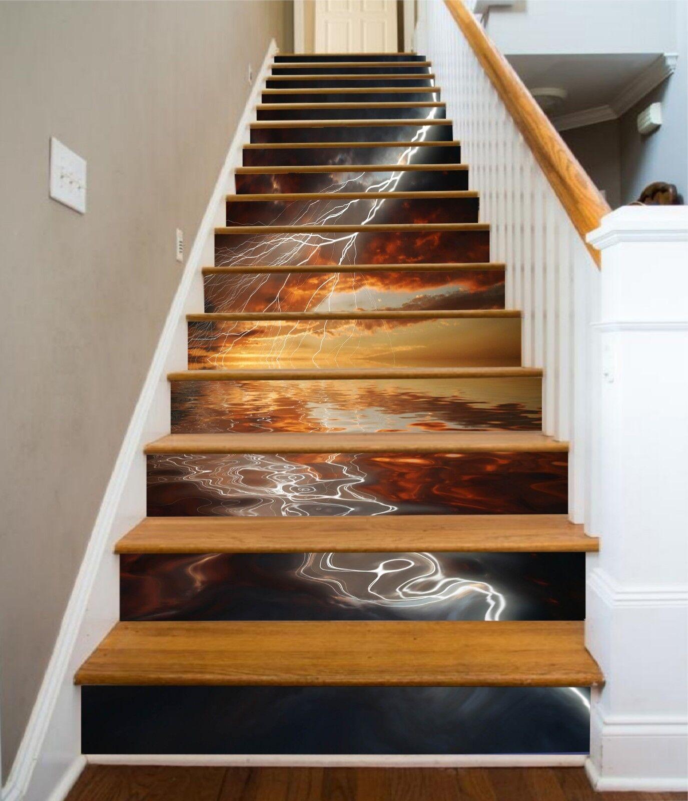 3D Lightning Sky 26 Stair Risers Decoration Photo Mural Vinyl Decal Wallpaper CA