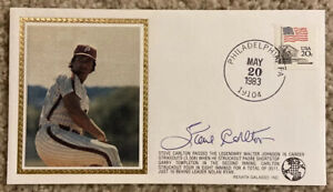 STEVE CARLTON Signed Autographed Baseball Cachet Envelope 1983 Phillies