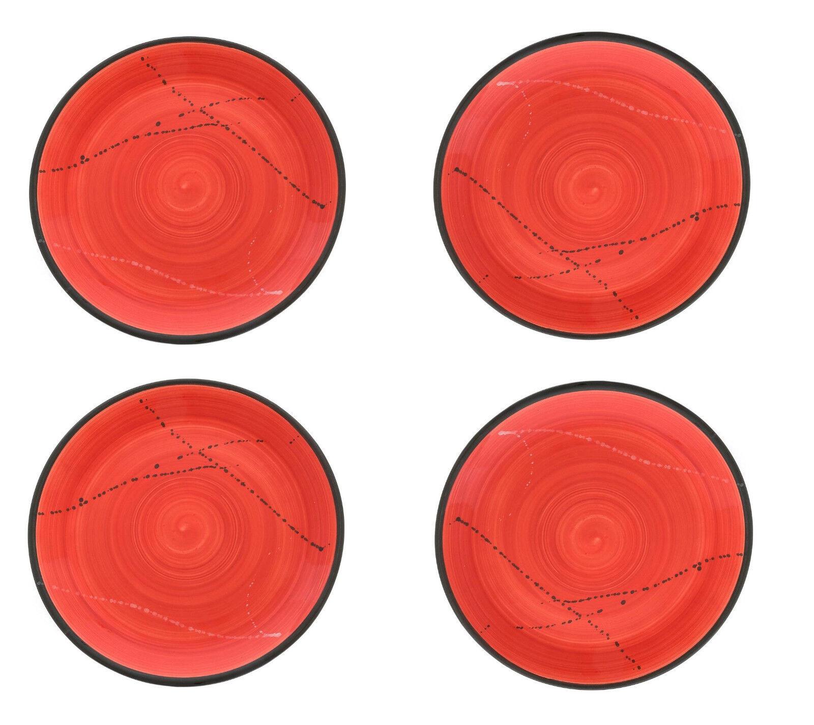 Dinner Main Plate or Dish Set of 4 - Handmade Ceramic - Red 10.6  - 27cm
