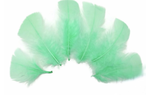 diy headbands hair bows 10 pieces Mint green dyed turkey feathers