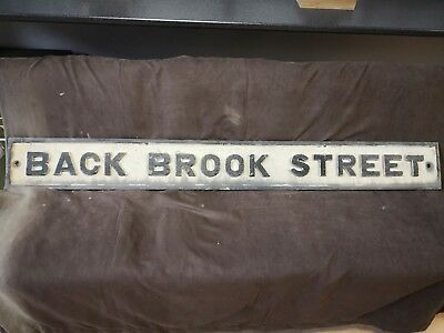 """back Brook Street 61 1/2""""x 7"""" Architectural & Garden Selfless Antique Vintage Cast Metal Street Sign Signs & Plaques"""
