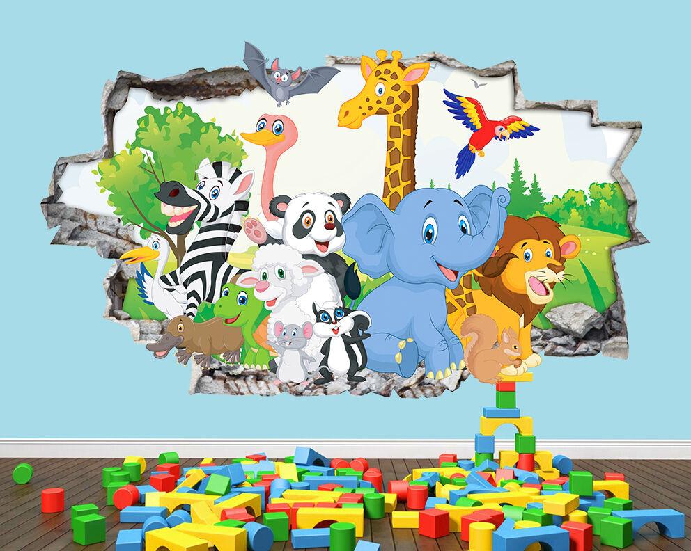 Animaux Nursery Mignon Smashed vinyle mur  Autocollant Chambre 3D Vinyle enfants