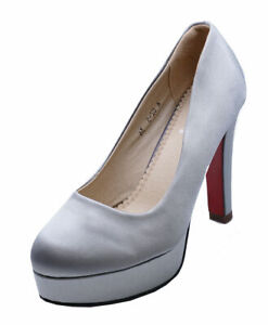 LADIES-GREY-SATIN-SLIP-ON-SMART-WORK-WEDDING-PARTY-COURT-EVENING-SHOES-SIZES-2-7