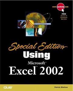 Special edition using microsoft excel 2002 patrick blattner.