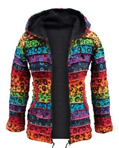 Womens-Fleece-Lined-Winter-Colorful-Hippie-Bubble-jacket-Full-Sleeve-Emo-Sweater