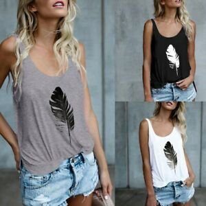 Women-leaf-Print-Vest-Sleeveless-Loose-Cool-Cropped-Tank-Tops-Blouse-Top-T-Shirt