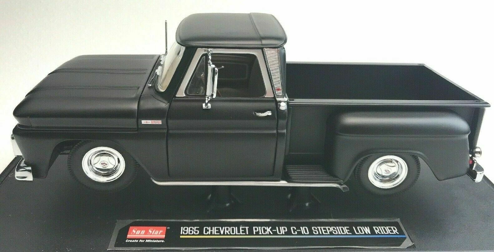 1 18 Sunstar chevrolet pick up c-10 stepside Low Rider nero rareza