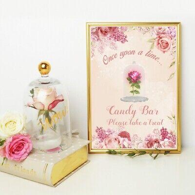 Wedding Candy Bar.Fairytale Wedding Candy Bar Sign Beauty The Beast Pink Rose Sweet Table Ebay