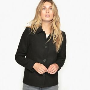 Image is loading ANNE-WEYBURN-Black-Collared-Coat-Jacket-Size-14 bbdebfa7dbe7