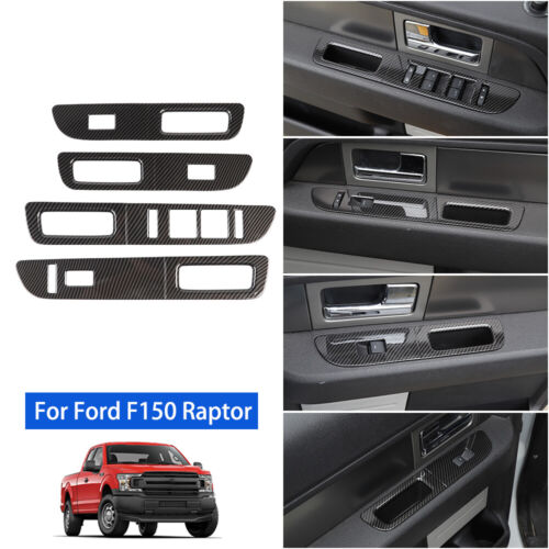 Window Lift Adjust Switch Panel Cover Trims for Ford F150 2009-2014 Carbon Fiber