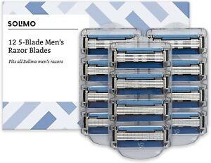 Amazon Brand - Solimo 12 5-blade razor refills for man