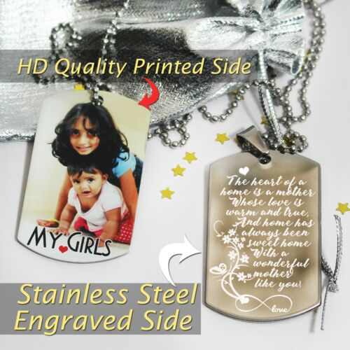 Personalised Photo Printed,Photo and Pic//Text engraved Hi quality Dogtag Pendent