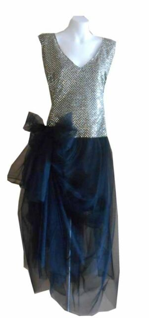 VINTAGE HARAH  GREAT GATSBY  SEQUIN MID CALF SLEEVELESS  DRESS 6-8-10 -12-14-16