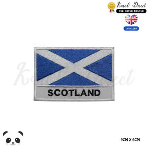 Scotland-National-Flag-With-Name-Embroidered-Iron-On-Sew-On-Patch-Badge
